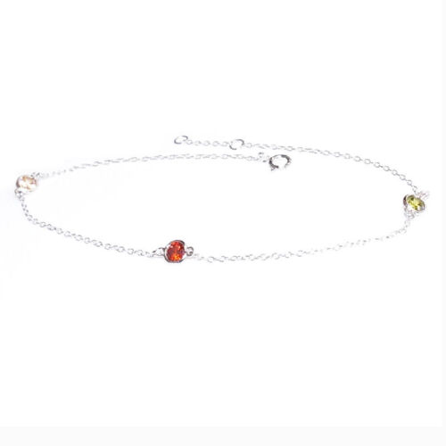 Sterling Silver Round CZ Crystal Charm Link Rolo Cable Chain Anklet w// Extender