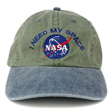 NASA I NEED MY SPACE Embroidered Washed Cotton Cap - Olive Navy Hat FREE SHIP