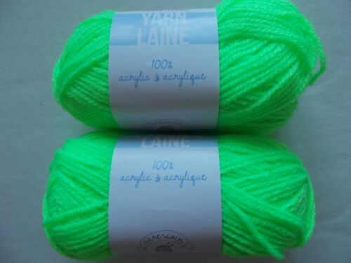 lot of 2 115 yds ea Neon Green Needle Crafters  acrylic yarn