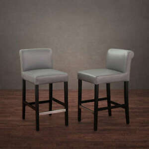 Brilliant Details About New Set Of 2 Gray Leather Bar Counter Height Stool Kitchen Table Dining Chair Gamerscity Chair Design For Home Gamerscityorg