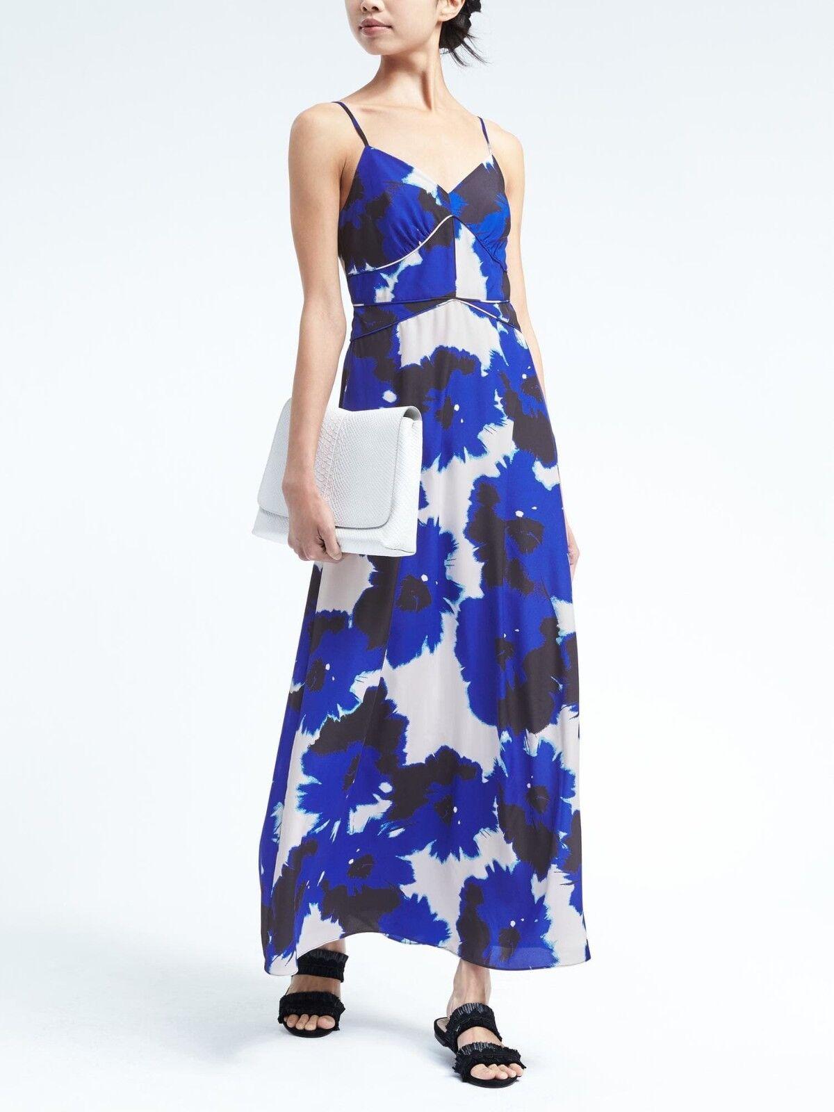 Banana Republic Floral Paneled Maxi Dress, Blau Floral Größe 14      v829