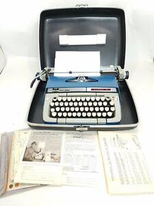 SCM Smith Corona CLASSIC 12 Typewriter Blue W Case, Key, Manual