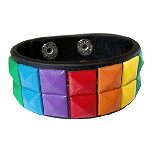Rainbow Leather Bracelet Double Studded Cuff