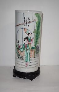 CHINESE-18-19TH-C-PORCELAIN-FAMILLE-ROSE-CYLINDER-SHAPED-11-039-039-VASE-HAT-STAND