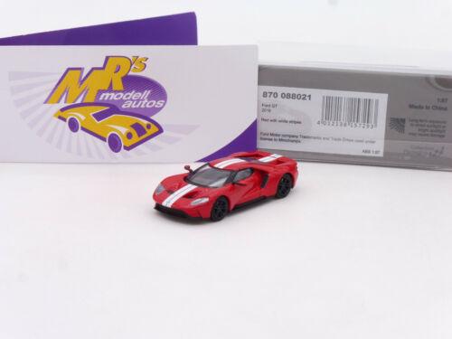 """Minichamps 870088021 # FORD GT Sportwagen Baujahr 2018 /"""" rot-weiß /"""" 1:87 NEU"""