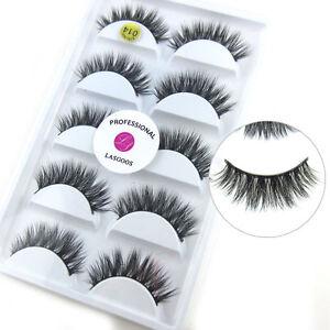 0563aa4a211 100% Real Mink Fur 3D False Eyelashes Cross Wispy Fake Eye Lashes 5 ...