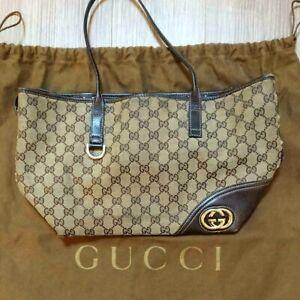 Authentic-Gucci-Shoulder-Bag-Tote-GG-Canvas-Monogram-USED-Women-Purse-G0143