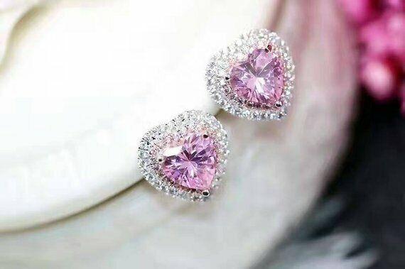 1ct Heart Cut Pink Sapphire Double Halo Stud Women Earrings 14k Whitegold Finish