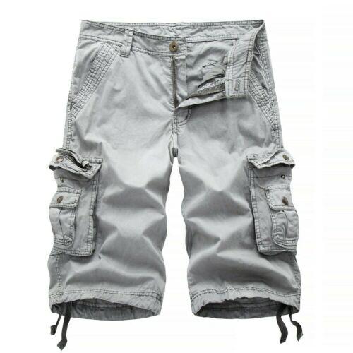 Hommes Short Militaire Pantalon en Vrac Décontracté Combat Coton Poches Kaki