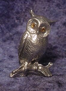 Pewter Owl Figurine With Crystal Eyes
