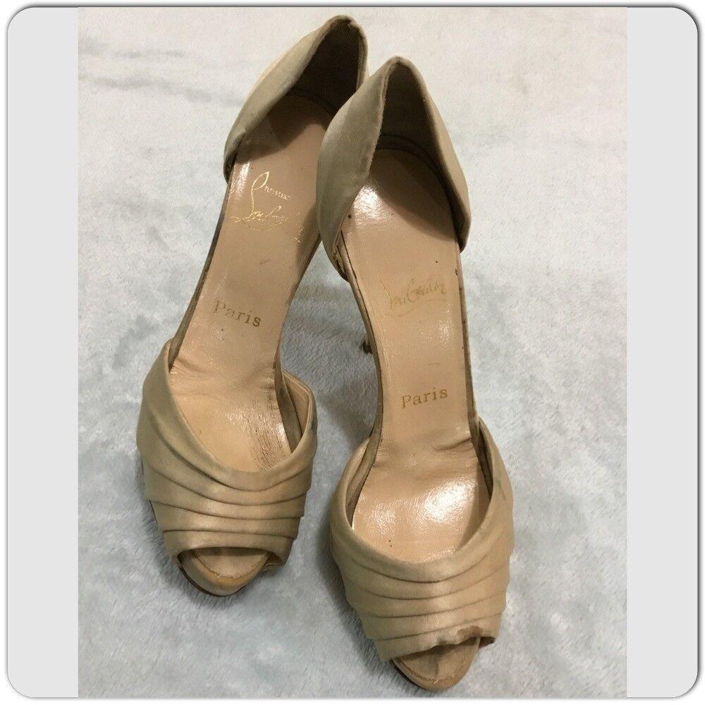 CHRISTIAN LOUBOUTIN beige guld Satin ARMADILLO D'Orsay Heel Heel Heel skor Storlek 7.5  Toppvarumärken säljer billigt