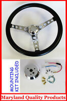 Ford Falcon Thunderbird Galaxie Gt Retro Steering Wheel Black 14 1/2 Plain Cap