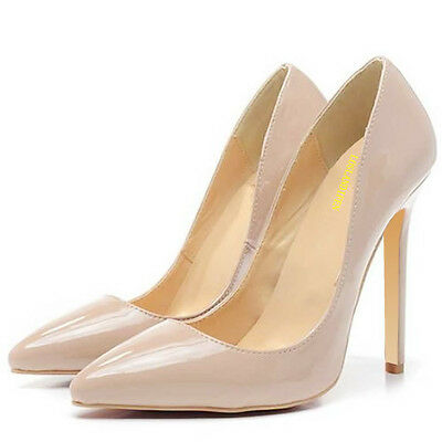 Nude Womens Work Party Prom Dress High Heel Pointed Corset  Pump Shoes Toe UK2-9