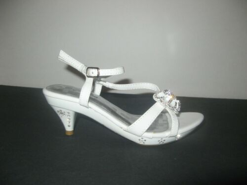 *Girls Silver or White Rhinestoned Dress Shoes Sz/'s 9-4*