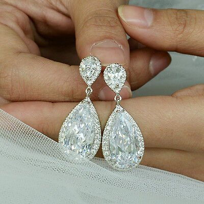 18K White Gold GP H-Quality Clear Zircon Crystal Oval Wedding Dangle Earrings