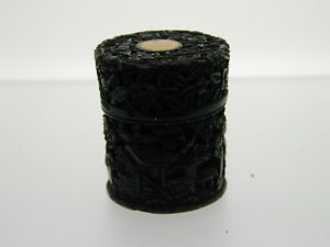 Victorian-Antique-carved-horn-pretty-pill-box-lidded-pot-Chinese-Gold-35-3-mm