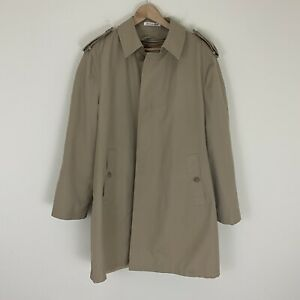 Misty-Harbor-Men-s-Size-42-Long-Trench-Coat-Zip-Out-Faux-Fur-Liner-Khaki-EUC