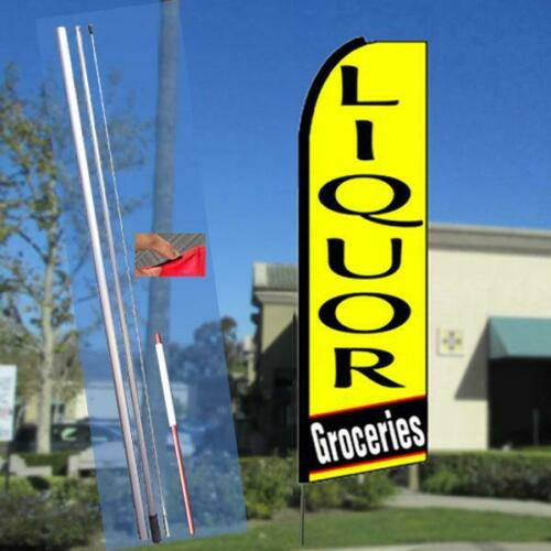 LIQUOR GROCERIES Flutter-Style Feather Flag Bundle 14/' OR Replacement F Yellow