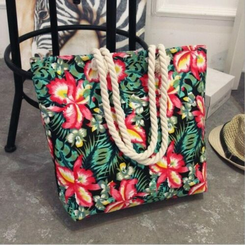 Ladies Latest Fashion Women Large Handbag Tote Casual Flower Printing Canvas Bag