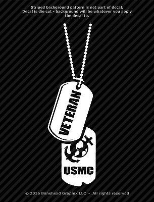 Dog Tags Decal USMC Retired Marines Military 8.5 inch  Window Sticker