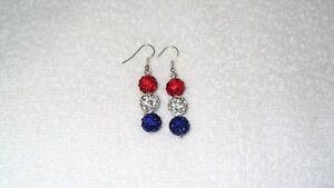 Handmade-Red-White-Blue-Disco-Ball-American-Flag-Earrings-Jewelry-4th-July
