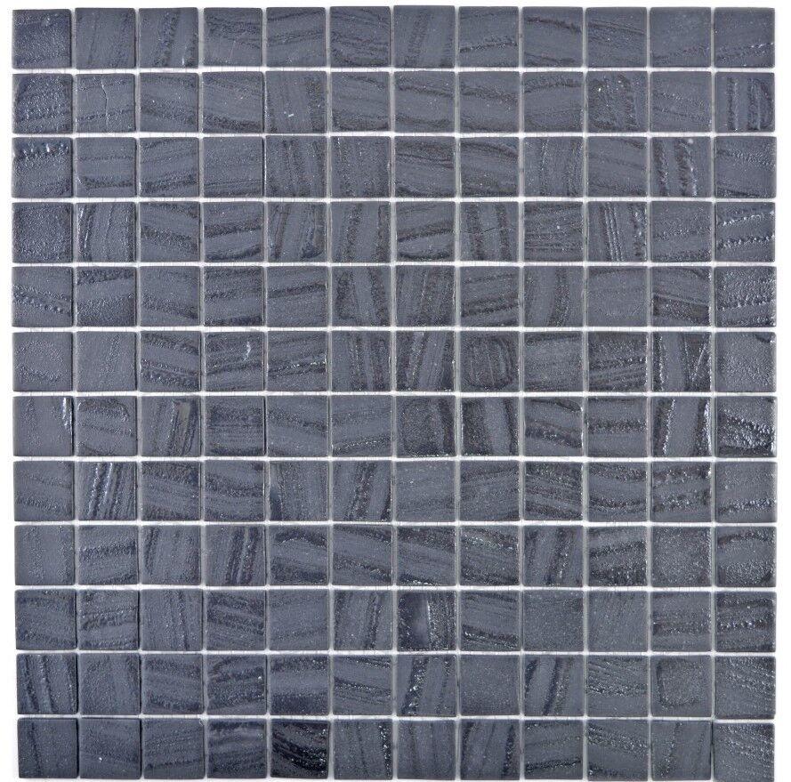 Mosaik Fliese ECO Recycling GLAS ECO schwarz anthrazit   360-03_f 10Matten