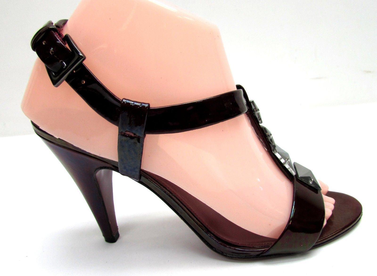 Via Spiga women's size 7 sandals M leather high heel sandals 7 shoes burgundy f9970a