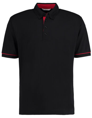 KK449 Kustom Kit Mens Button Down Polo Shirt Collar Contrast Pique Work Wear