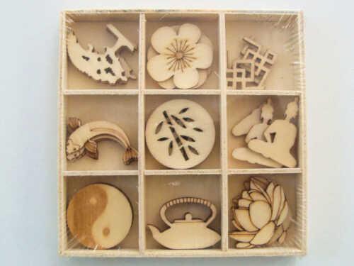 27 Embellissements BOIS Zen Asie Yin Yang Casier Artemio Scrapbooking Carterie
