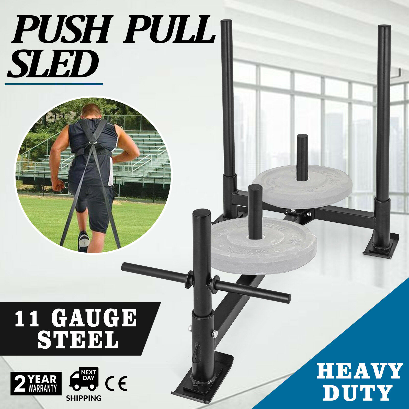 Fitness HD Weight Sled Low Push Pull High Training Transform Plates Workout