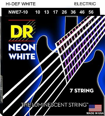DR NWE7-10 Neon White Electric Guitar Strings 7-string set gauges 10-56