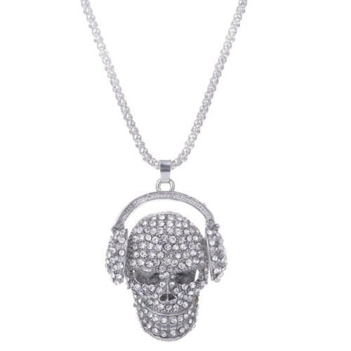 Long Rhinestone Silver Color Pendant Jewelry Skull Necklace Sweater Chain