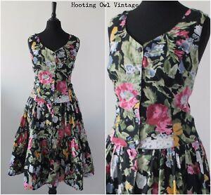 Vintage-1980s-Floral-Party-Dress-RETRO-Rockabilly-Tiered-Midi-Sundress-Dress-12