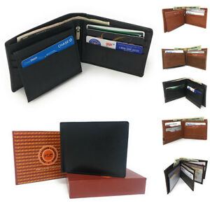 Casaba-Genuine-Leather-Bifold-Wallets-Cash-Slots-ID-Coin-Key-Pocket-Mens-Womens