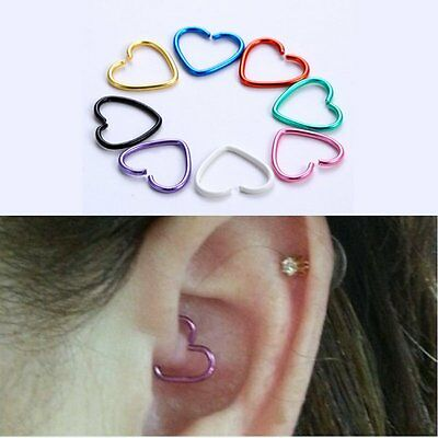Stainless Steel 40PCS Lovely Heart Body Jewelry Nose Ring Clip-On Stud Earrings