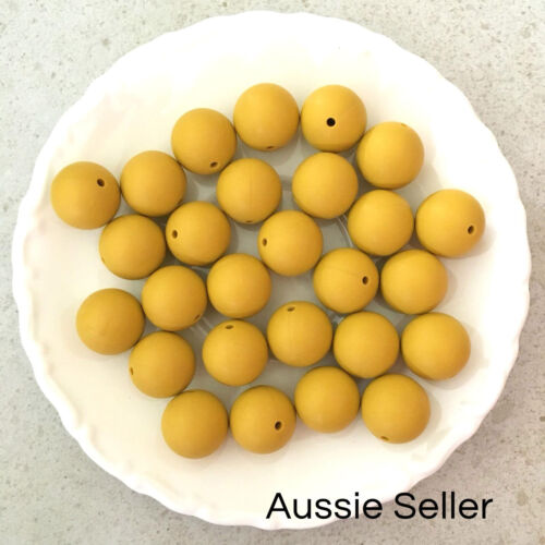 10 silicone beads MUSTARD YELLOW 19mm round BPA free teething jewellery 20mm DIY