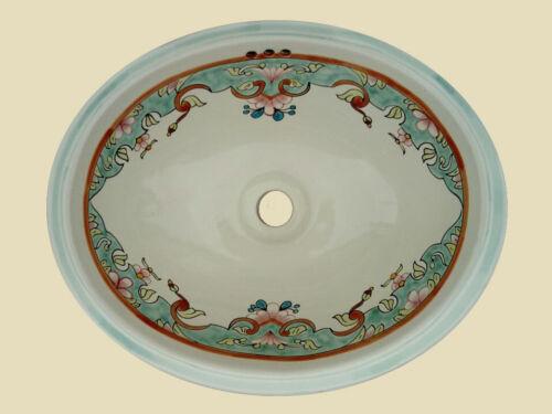 Pia De Banheiro Pequeno #013 16x11.5 Pintura Mão Cerâmica Mexicana queda na embutida