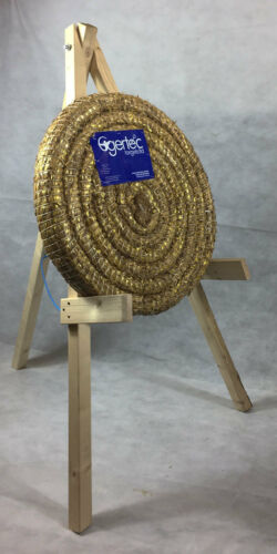 65cm Egertec Round Coiled Archery Straw Target Boss & Wooden Stand Package