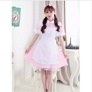 Maid-Apron-Lolita-Waitress-Victorian-Fancy-Pink-Dress-Party-Cosplay-Costume