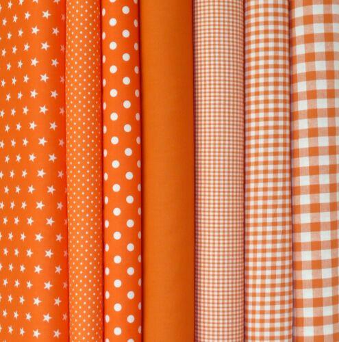 9,60€//m Baumwollstoffe Orange Stoff Baumwolle Uni Punkte Sterne Karo Kinderstoff