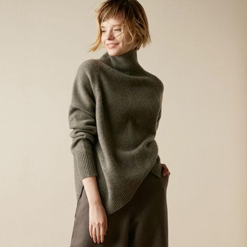con misto lunga donna cashmere e lunghe manica lana da Top misto in collo a in maniche alto xATHqYq