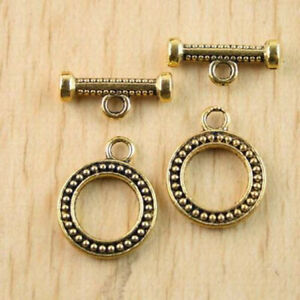 6 Crown Toggle Clasps Antique Bronze Tone 2 Sided BC1124