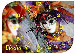 horloge-pendule-murale-venise-carnaval-personnalisee-prenom-au-choix-ref-F-39