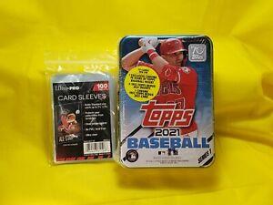 +💥FREE SLEEVES🚚💨2021 Topps Series 1 MLB Baseball Tin Trading Cards Random Tin