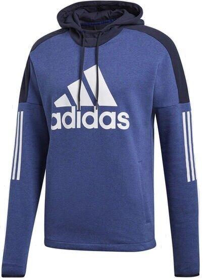 Men's New Adidas Logo Hoodie Hoody Hooded Sweatshirt Jumper Top Jacket Blue
