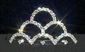 New-Small-Bridal-Wedding-Crown-Hair-Comb-Tiara-Clear-Rhinestone