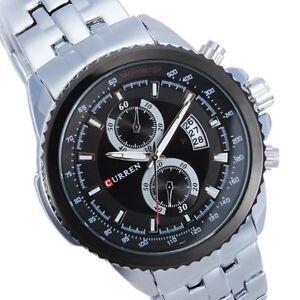 CURREN-8082-Silver-Stainless-Steel-Black-dial-Men-039-s-Watch