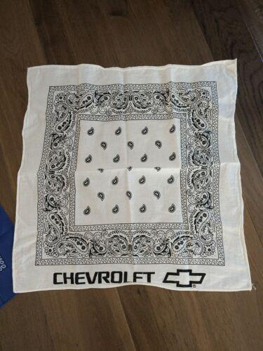 80's Vintage Chevy Chevrolet  White Paisley Bandana Handkerchief
