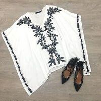 ZARA White Black Floral Embroidery V Neck Kimono Beach Tunic Kaftan Blouse Top M