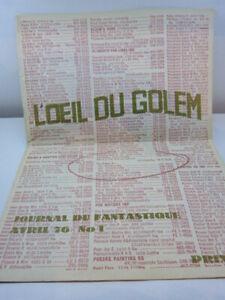 L'oeil Du Golem , N°1 1976 (eta2) Acheter Un Donner Un